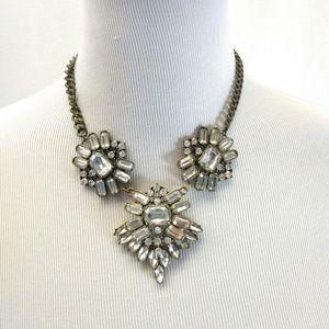 "Unbranded Necklace 8"" Bib Style Clear Rhinestone"